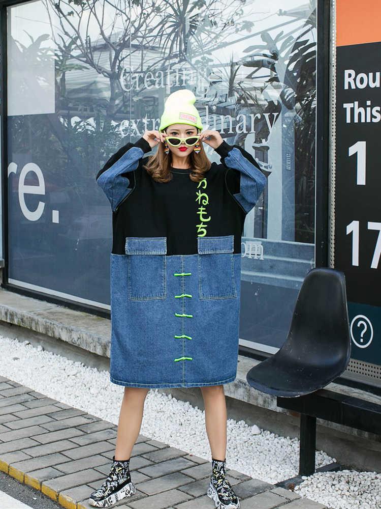 Vefadisa осеннее лоскутное джинсовое платье Женский пуловер с принтом платье карманы o-образным вырезом длинный рукав свободное платье карандаш 2019 QYF703