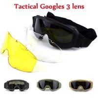 Exército militar tiro óculos ao ar livre airsoft paintball caça óculos de segurança esporte tático óculos de sol 3 lente