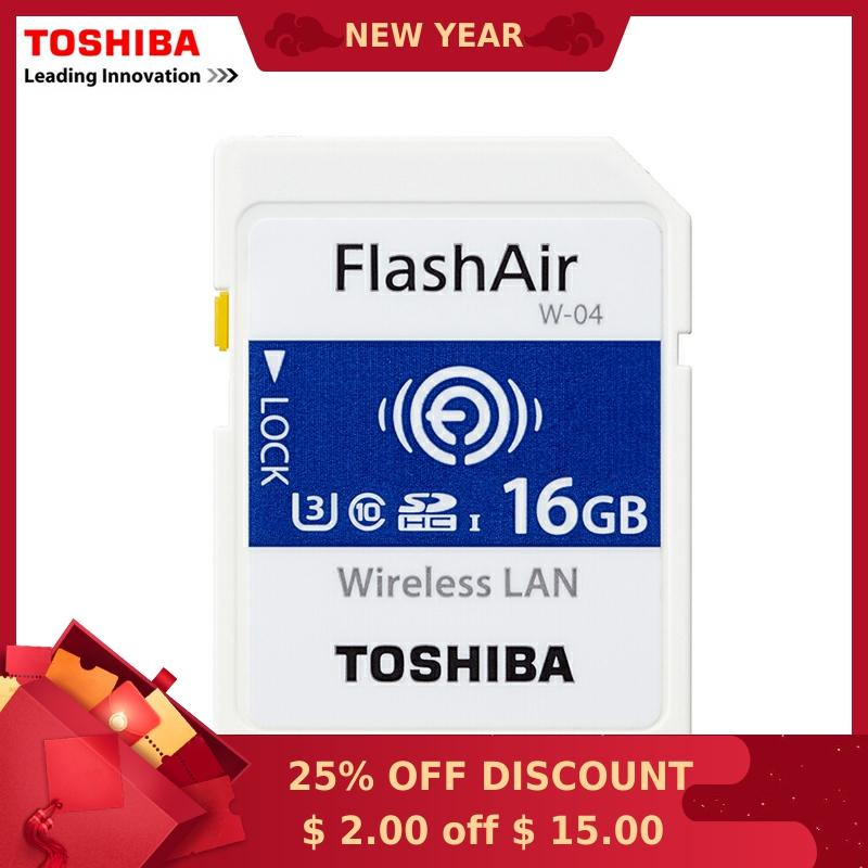 TOSHIBA FlashAir W-04 Memory Card Wireless LAN 16GB WI-FI SD Card U3 UHS Speed Class 3 Wireless SD Memory Card Wifi SD Card