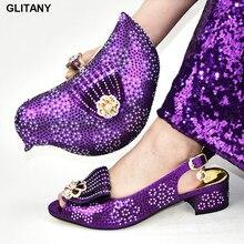 Туфли в африканском стиле и сумочки в тон, украшенные Стразы итальянская обувь и сумочка в комплекте; Свадебная вечеринка роскошная дизайнерская обувь для женщин