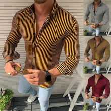 Fashion Men's Slim Fit Button Turn-Down Collar Shirts Casual Blouse Mens Long Sleeve Stripe Shirts Polyester Tops girls plaid blouse 2019 spring autumn turn down collar teenager shirts cotton shirts casual clothes child kids long sleeve 4 13t