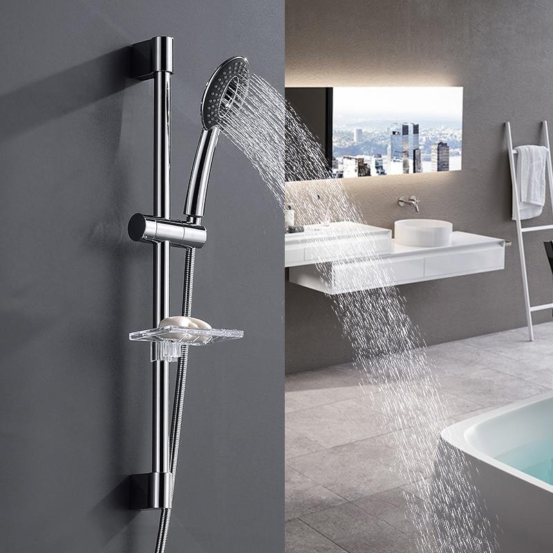 Shower Riser Rail Sliding Bar & Handheld Shower Head With Soap Dishes Chrome Shower Head Holder Kit
