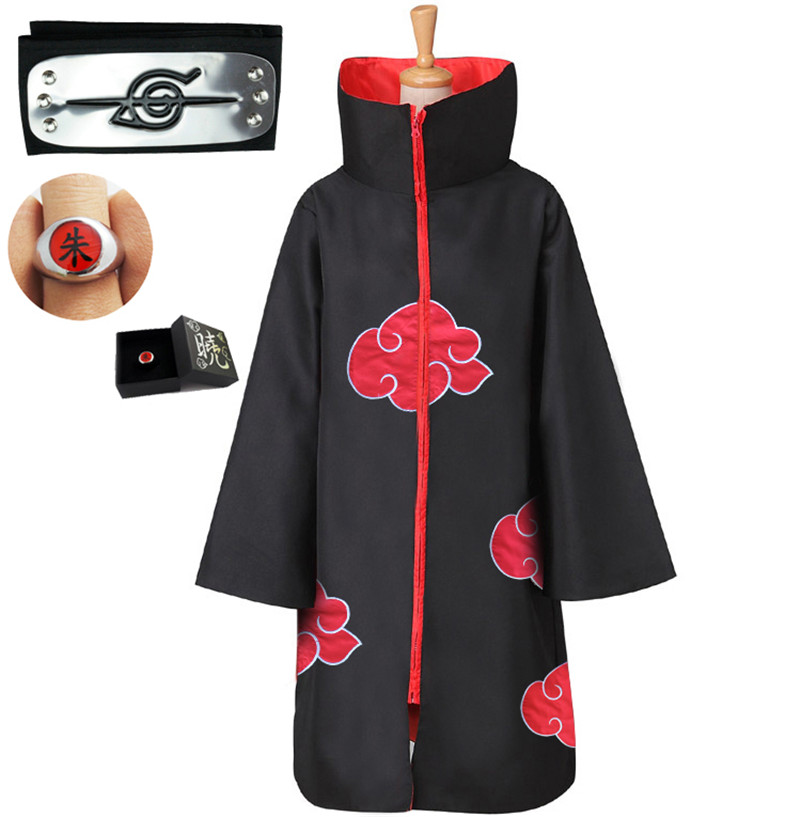 Anime Naruto Cloak Costume Akatsuki Uchiha Itachi Necklace Headband Ring Cloak Adult Child Cosplay Halloween Clothing Set