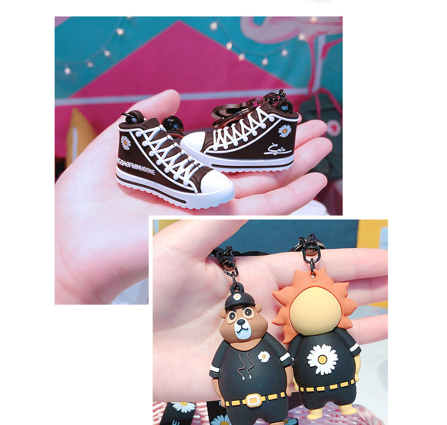 Cute Cartoon Tiger Lion Bear Doll Keychain Korea Style Little Daisy Canvas Shoes Key chain WomenMen Phone Bag Car Pendant Keyring (5)