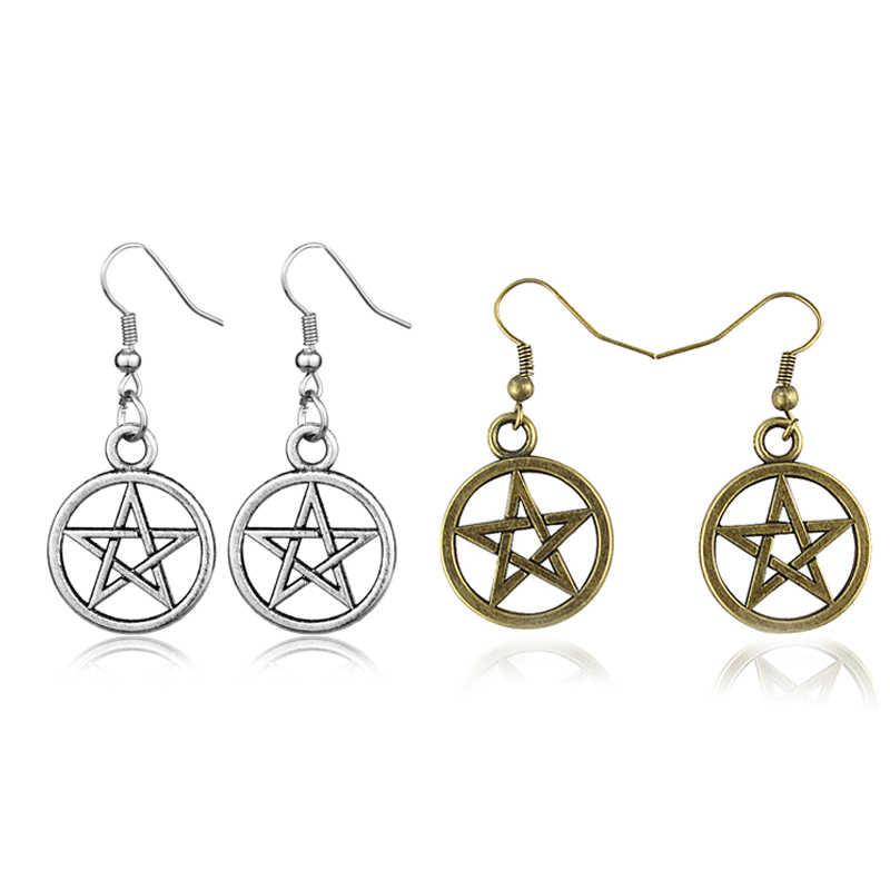 Goth Pentagram Halloween Anting-Anting Sihir Anting-Anting Menjuntai Wicca Sun Moon Star Drop Anting-Anting Jimat Perhiasan untuk Wanita