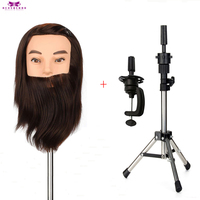 Thick Beard Head Male 100% Real Synthetic Training Mannequin Hair Cutting Hairstyles Salon Hairdresser Wig Heads With Tripod