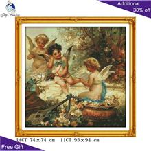Joy Sunday Garden Cherubs Cross Stitch Home Decor R320 14CT 11CT Counted and Stamped in the kits