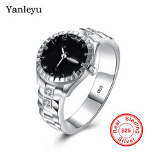 Yanleyu New Fashion Watch Style Ring for Men and Women Real 925 Sterling Silver Finger Ring Black Enamel Jewelry PR362(China)