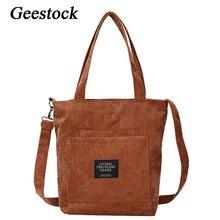 Tote-Bag Pocket Reusable-Bags Canvas Girls Corduroy Fashion for Foldable Geestock Mu-Ti