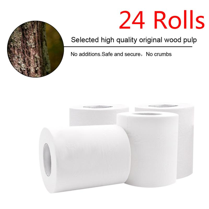 24 Rolls Strong Soft 3Ply Toilet Paper Bath Tissue Skin-friendly 4Ply Thickened Toilet Paper Household Clean Soft Paper US Hot