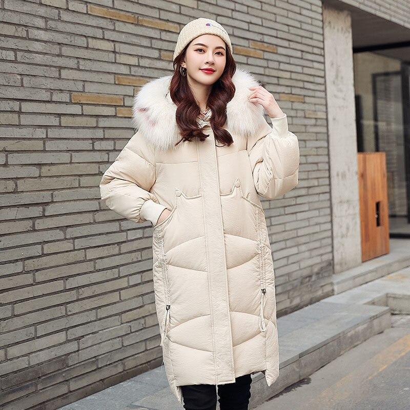 QIHUANG Hooded Fur Collar Loose Women   Down     Coat   2019 Winter Warm Long Jackets Fashion Plus Size Women Winter   Coat   Jacket
