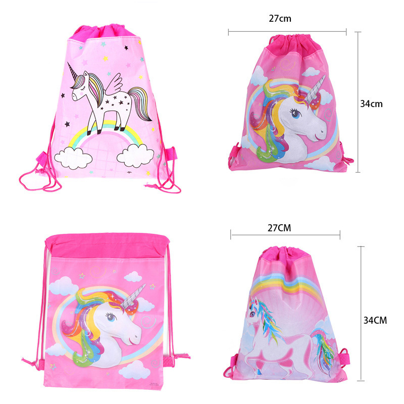 1pcs/lot Unicorn Birthday Party Drawstring Bag Gift Bag For Gifts Party Decoration For First Birthday Girl Party Kids Favor