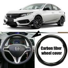Car-styling 38cm black carbon fiber PVC leather car steering wheel cover for Honda Civic