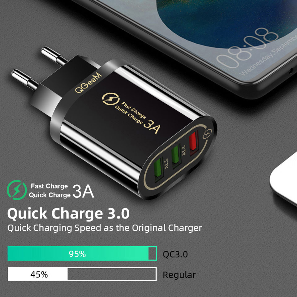 QGEEM Quick Charge 3.0 3 USB Charger for iPhone Fast Charger for Xiaomi QC 3.0 Portable Phone Charger Charging Adapter