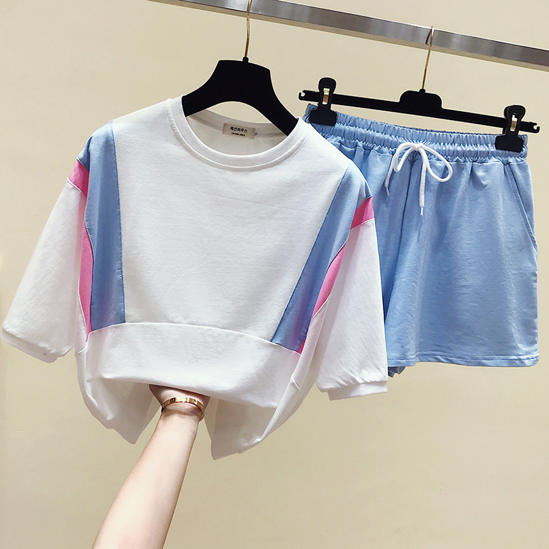 Short Sleeve WOMEN'S Suit 2019 Amoi Mixed Colors Tops + Shorts Casual Two-Piece Set