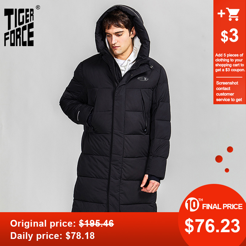 Tiger Force 2019 Winter Jacket For Men Long Mens Hooded Jackets Coat Warm Parka Overcoat Black Puffer Big Pockets Outwear