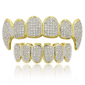 Image 1 - Hip Hop Punk Teeth Grillz Men Gold Rapper Teeth Top & Bottom Bling Grills Dental Mouth With CZ Cosplay Party Hip Hop Jewelry