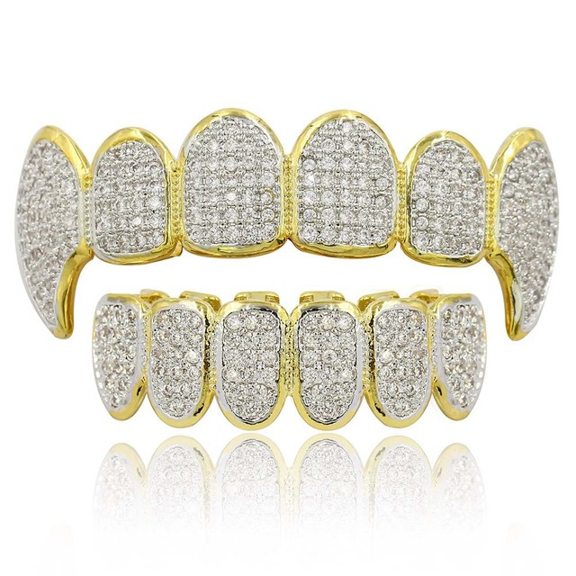 Hip Hop Punk Teeth Grillz Men Gold Rapper Teeth Top & Bottom Bling Grills Dental Mouth With CZ Cosplay Party Hip Hop Jewelry