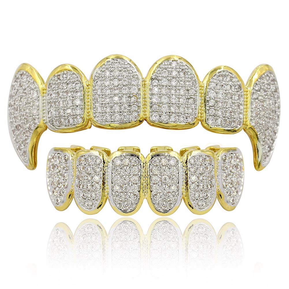Hip Hop Punk Teeth Grillz Men Gold Rapper Teeth Top & Bottom Bling Grills Dental Mouth With CZ Cosplay Party Hip Hop Jewelry image