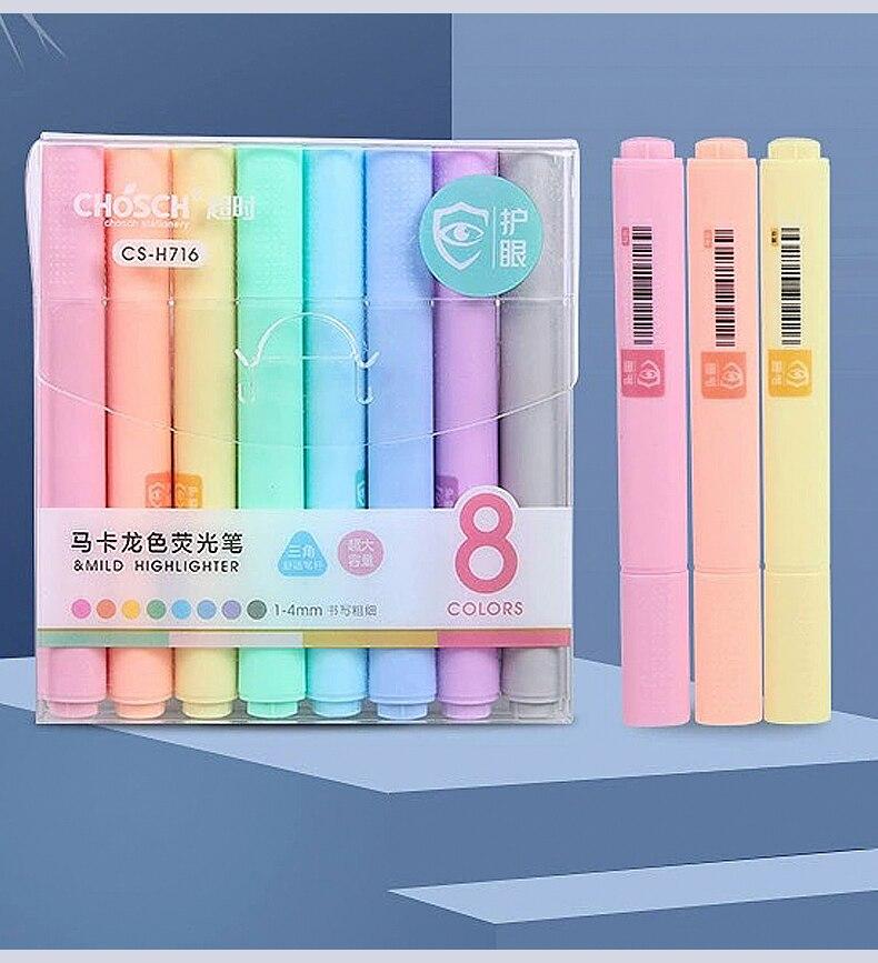 8 Teile/satz Macaron serie Kreative Leuchtstoff Stift Highlighter Bleistift Candy Farbe Zeichnung Marker