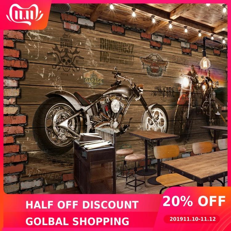 Custom 3d Mural Internet Cafes 3D Vintage Motorcycle Car Wood Brick Wall European Retro Cafe Bedroom Living Room Mural Wallpaper