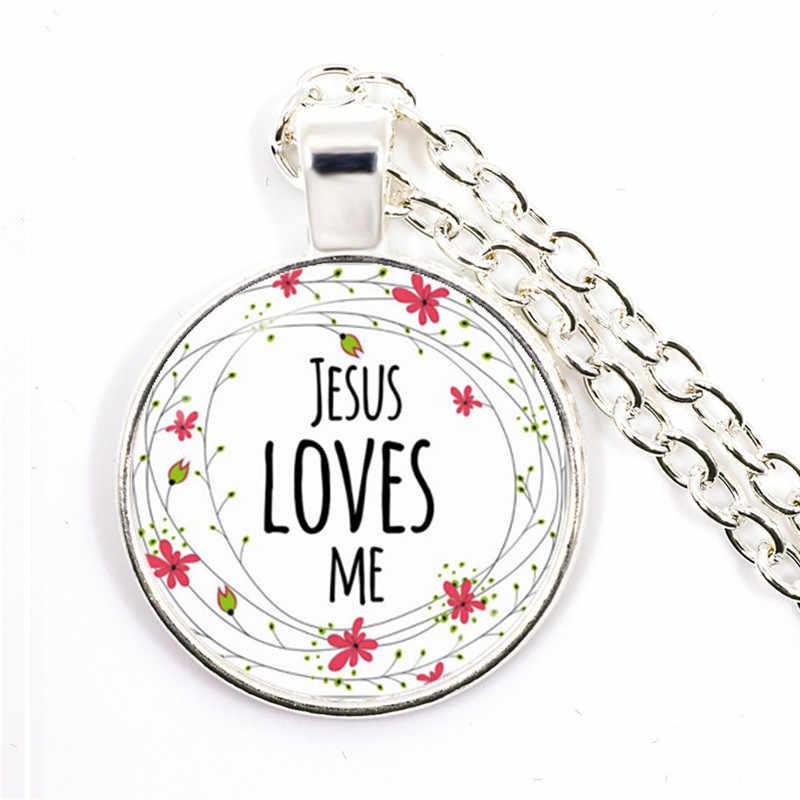 JESUS LOVES ME ข้อพระคัมภีร์เนอสเซอรี่ Verse สร้อยคอแฟชั่นเครื่องประดับศาสนาจี้คริสเตียน