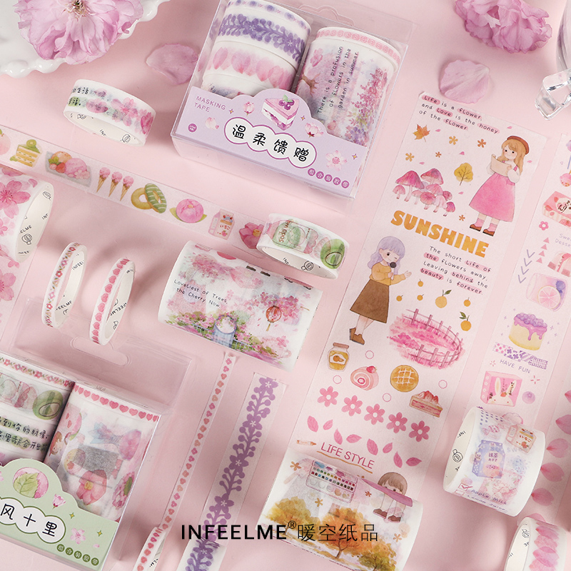 6pcs/pack Romantic Floral Masking Washi Tape Set Pink Sakura Japanese Girl Plant Diy Label Sticker Decor For Scrapbooking Album
