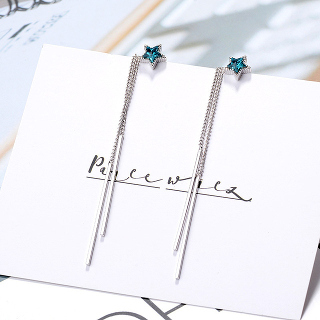 Personality Female Earring 925 Sterling Silver Asymmetric Blue Star Long Tassel Ear Line Earrings for Women.jpg 640x640 - Personality Female Earring 925 Sterling Silver Asymmetric Blue Star Long Tassel Ear Line Earrings for Women Wedding Jewelry Gift