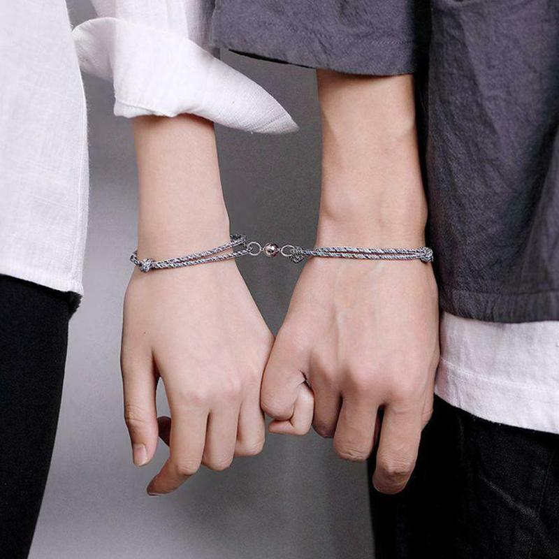 Creative Magnet Attracts Each Other Couple Bracelet Men And Women Charm Bracelet Jewelry
