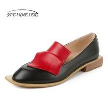 Apartamentos femininos oxford sapatos mulher tênis de couro genuíno senhora brogues vintage sapatos casuais deslizamento para calçados femininos 2020