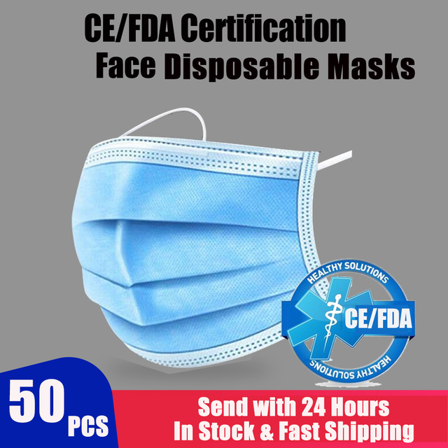 50/100pcs Disposable Mouth Face Mask Anti-Dust 3 Layer Mouth Masks Anti Flu PM2.5 Breathable Masks Face Care Elastic Earloop