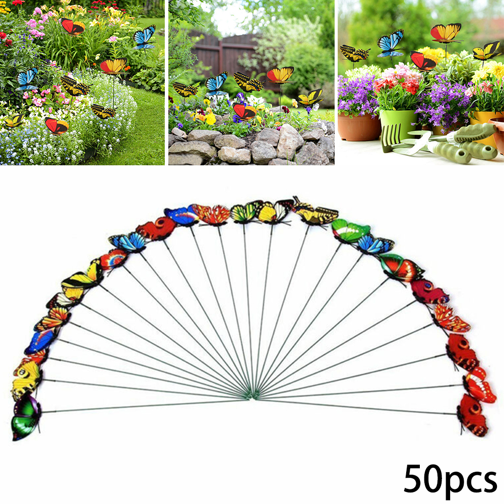 50Pcs Simulation Butterfly Stakes Colorful Garden Butterflies For Outdoor Yard Planter Flower Pot Bed Yard Art Garden Decoration