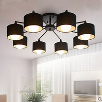 Modern LED white\/black\/Gold\/Silver ceiling Chandeliers E27 With Lampshade simple creative Lighting Fixtures for Living room