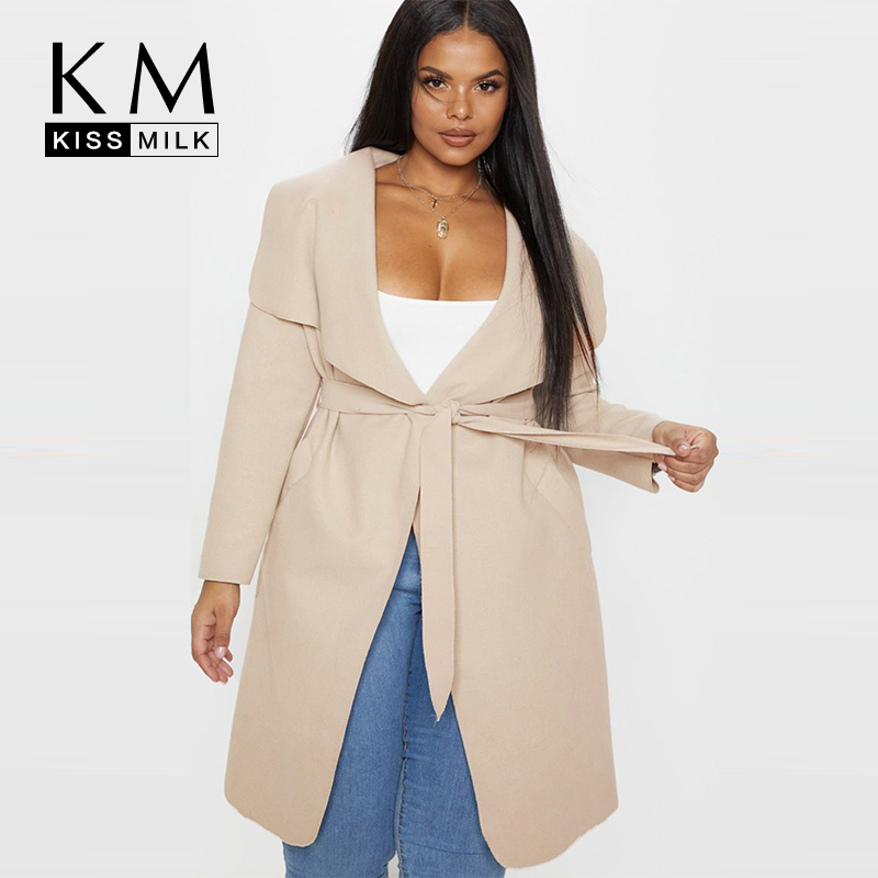 Kissmilk Stylish Simplicity Oversized Suit Collar Lace Waist Sports And Leisure Solid Color Large Code Medium Long Coat