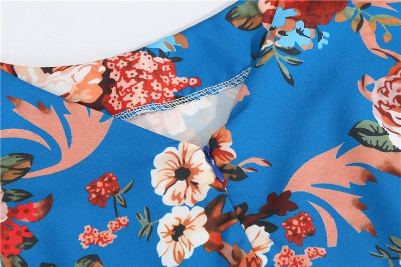 Summer Floral Print Elegant A-line Party Dress Women Slim White Short Sleeve Swing Pin up Vintage Dresses Plus Size Robe Femme 149