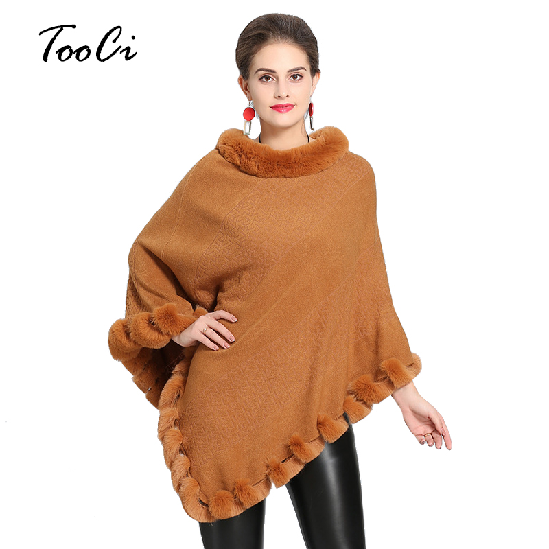 New Elegant Spring Shawl Knitted Imitation Fox Fur Collar Cashmere Knitted Pullover Women Capes Poncho Fur Neck Coat