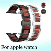 Wood strap For Apple watch 5 4 band correa iwatch 44mm 40mm 42mm 38mm series 3 2 1 Natural Red Sandalwood+Stainless steel strap