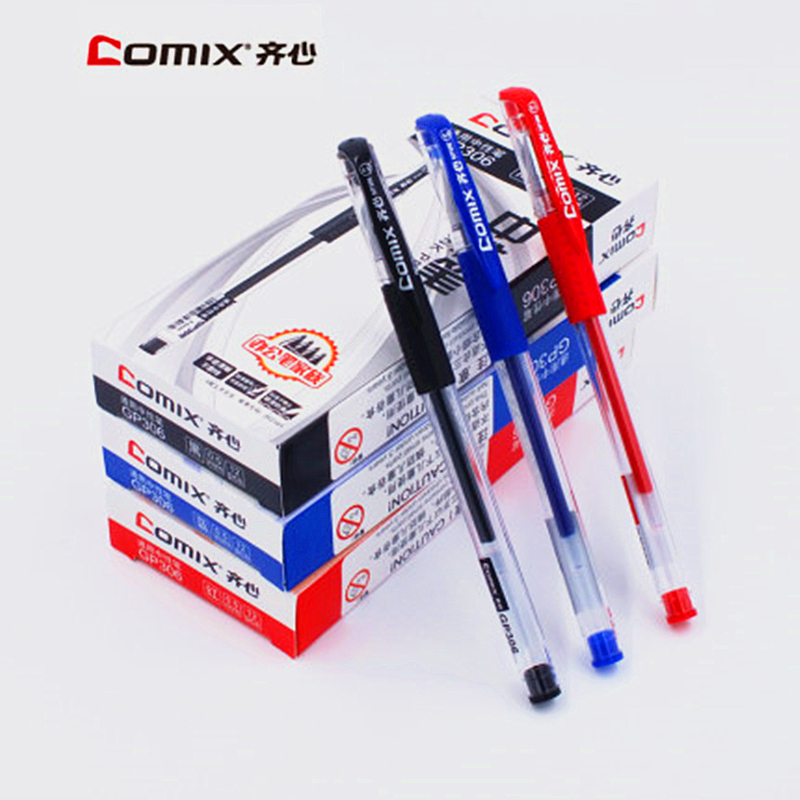 <font><b>12</b></font> piece 0.5 <font><b>mm</b></font> <font><b>Unisex</b></font> Gel Pen Black Blue Red Ink Very Good Writing School Pen For Student Gel Pens from Office School image