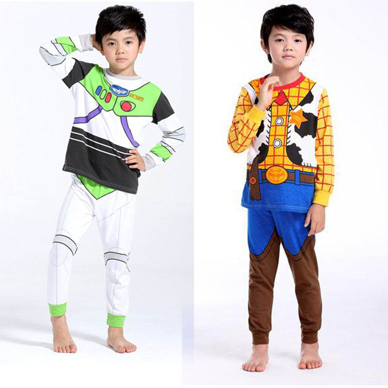 Kids Boy Cosplay Buzz Light Year Cowboy Woody Costumes Pajamas Movie Toy Story Buzz Light Year Costume Halloween Christmas Party