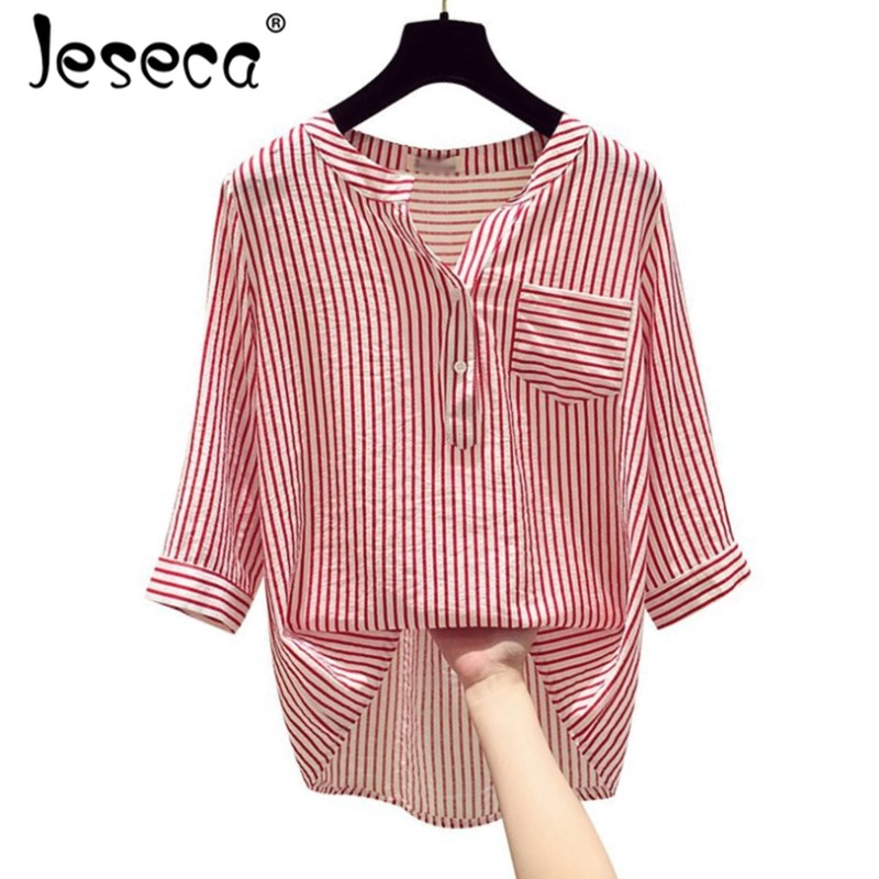 Jeseca Women Striped Blouse Shirt Half Sleeve Blouse V-neck Shirts Casual Tops Blouse Et Chemisier Femme Blusas Mujer De Moda