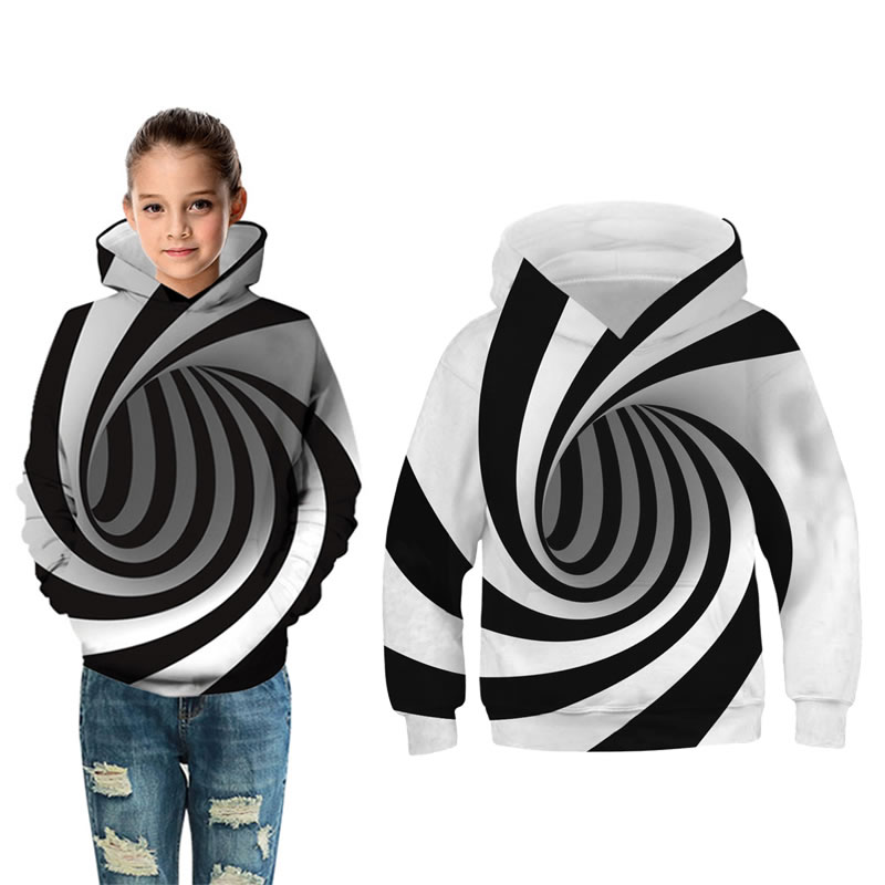 Spring Fall Teen Boy Girl 3D Artist Sweatshirt Cloth Fashion Kid Hooded Striped Print Casual Hooded Child Clothes 10 11 12 Year