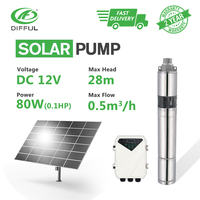 3 DC Screw Submersible Solar Water Bore Pump 12V 80W with MPPT Controller Home Water Supply Foutain Stainless Steel Automatic