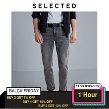Selecionado masculino fino ajuste estiramento algodão cinza jeans lab