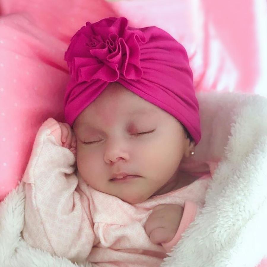 Nishine New Baby Turban Hat With Pleated Flowers Cotton Newborn Beanie Kids Photo Props Baby Shower Gift Birthday Hats Headwear