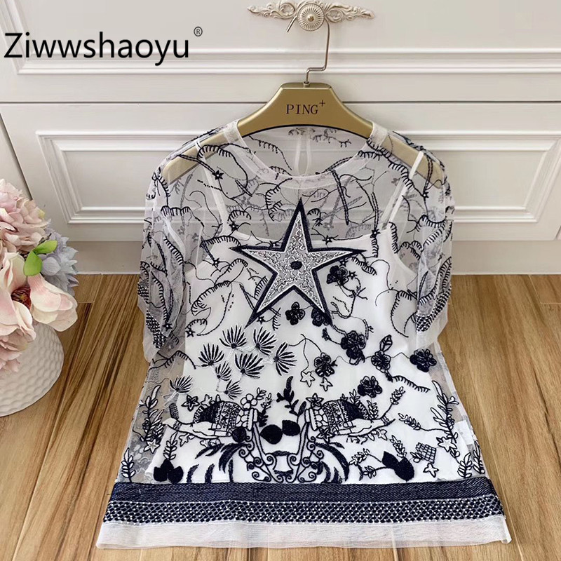 Ziwwshaoyu mode Tarot Totem broderie perlée à manches courtes maille Transparent Sexy t-shirts t-shirts hauts femmes été