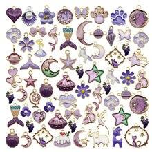 20 pçs clássico esmalte roxo encantos aleatório misturado frutas animais flores liga pingentes brincos jóias fazendo acessório