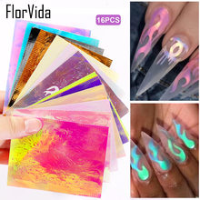 Florvida 16pcs Kit 3D Laser Flame Stickers For Nails Self Adhesive Blaze Leaves Decal Nail Art Decorations Set Manicure