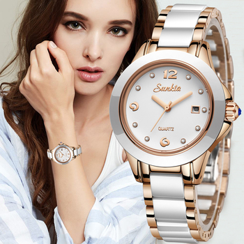 SUNKTA Fashion Women Watches Rose Gold Ladies Bracelet Reloj Mujer 2021 New Creative Waterproof Quartz For