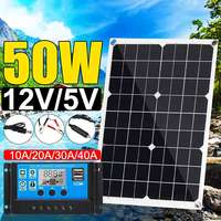 Hot 50W solar panel 12V/5V Double USB+10/20/30/40A Dual USB Solar Panel Regulator Controller ect for car yacht RV Lights Charge