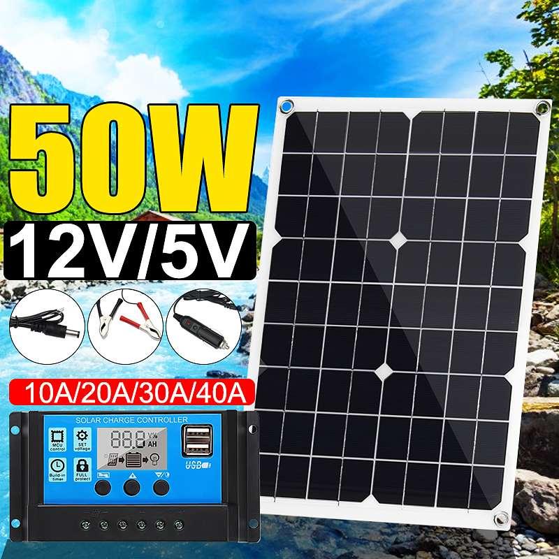 Hot 50W Solar Panel 12V/5V Double USB+10/20/30/40A Dual USB Solar Panel Regulator Controller Ect For Car Yacht RV Lights Charge
